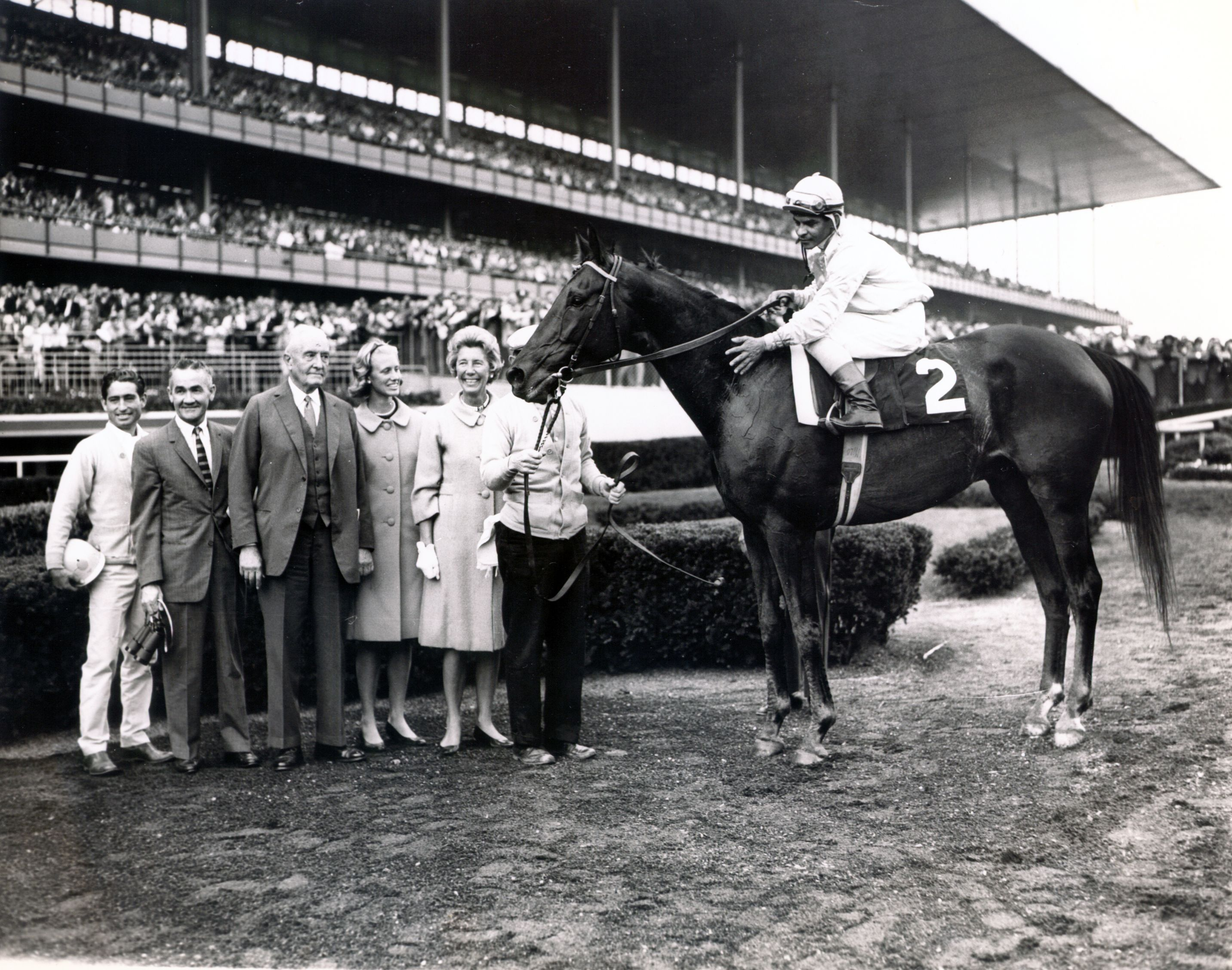 Kelso (Ismael Valenzuela up) in the winner's circle for the 1963 Woodward at Aqueduct (NYRA/Museum Collection)