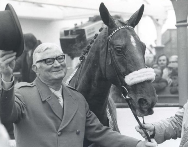 L'Escargot and Raymond Guest after winning the 1975 Grand National Steeplechase at Aintree (Gerry Cranham/Museum Collection)