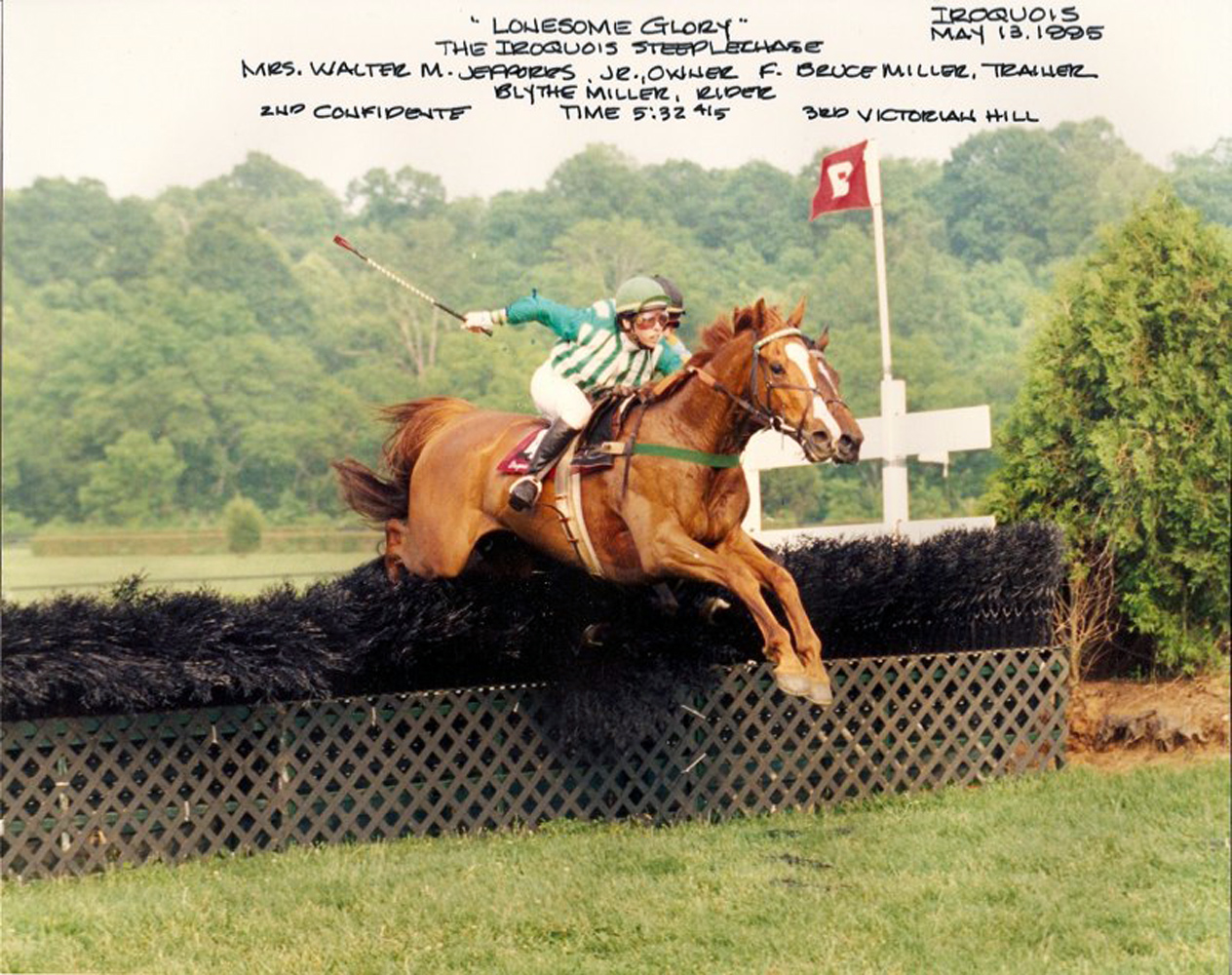 Lonesome Glory, Blythe Miller up, winning the 1995 Iroquois Steeplechase (Courtesy of Bruce Miller)