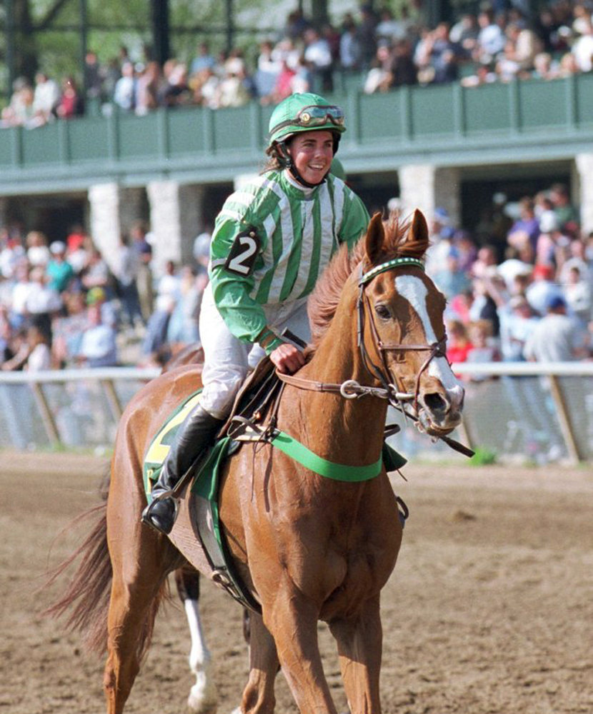 Lonesome Glory, Blythe Miller up, after winning his final career race at Keeneland, April 1999 (Courtesy of Bruce Miller)