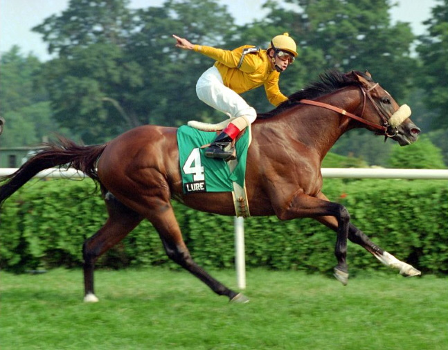 Lure (Mike Smith up) winning the 1994 Bernard Baruch Handicap at Saratoga (NYRA)