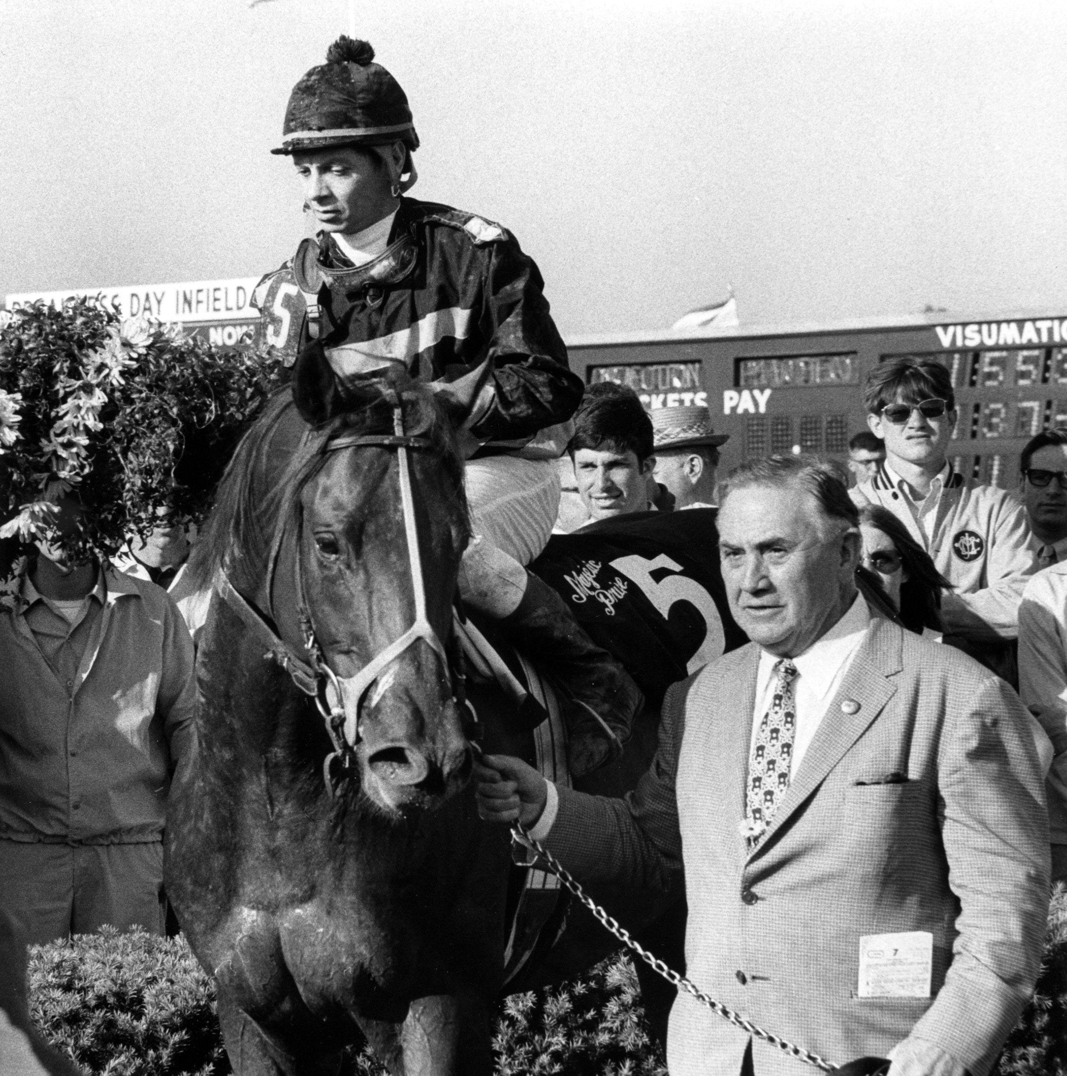 Majestic Prince (Bill Hartack up) in the winner's circle for the 1969 Preakness Stakes (Museum Collection)
