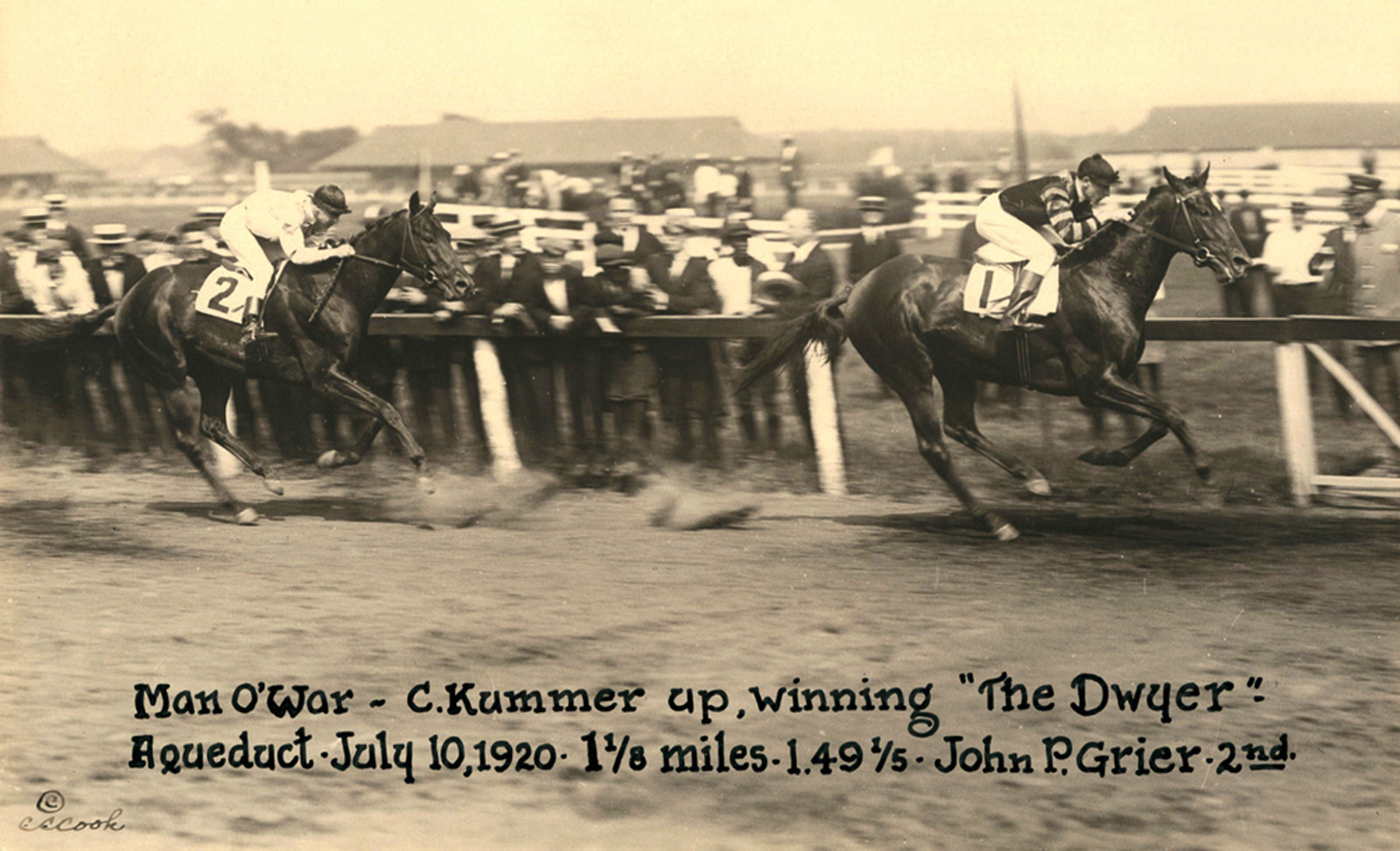 Man o' War wins the 1920 Dwyer with Clarence Kummer up (C.C. Cook/Museum Collection)