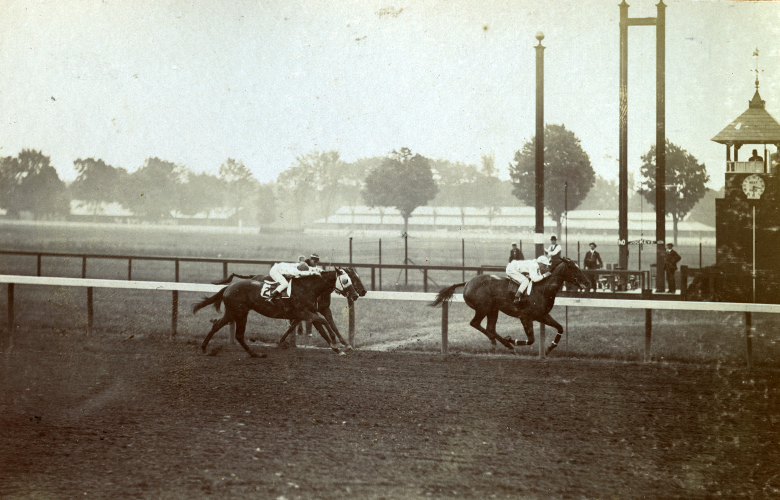 Maskette (Joe Notter up) winning the 1908 Spinaway at Saratoga (Keeneland Library Hemment Collection)