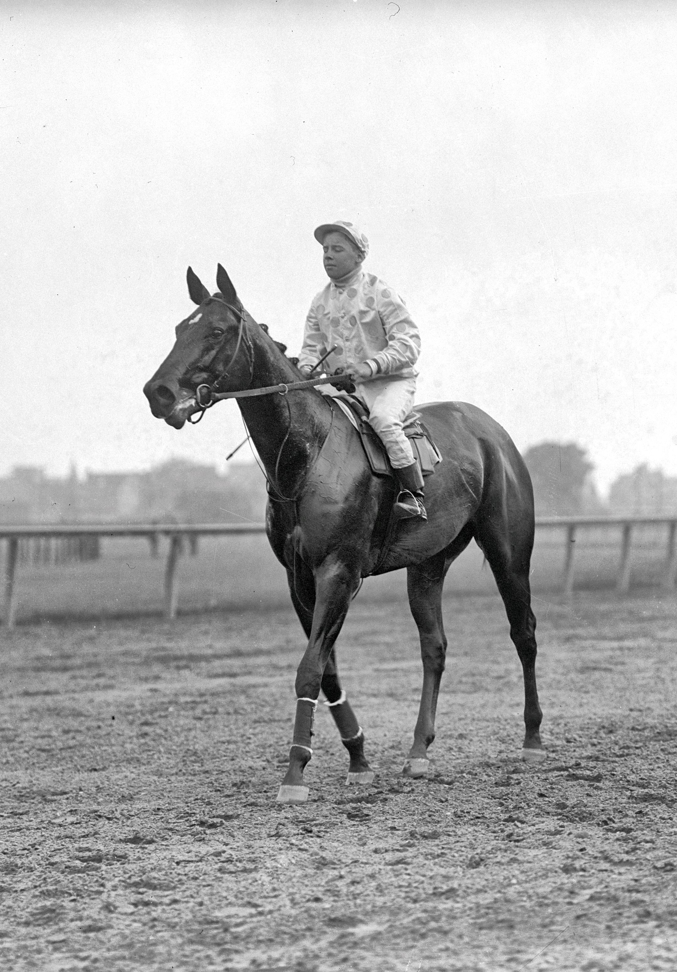 Maskette with Joe Notter up, undated (Keeneland Library Cook Collection)