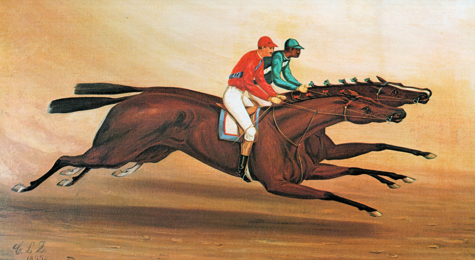 """""""Match Race at Monmouth Park"""" by Charles L. Zellinsky, featuring Miss Woodford (on outside) and Freeland (Museum Collection)"""