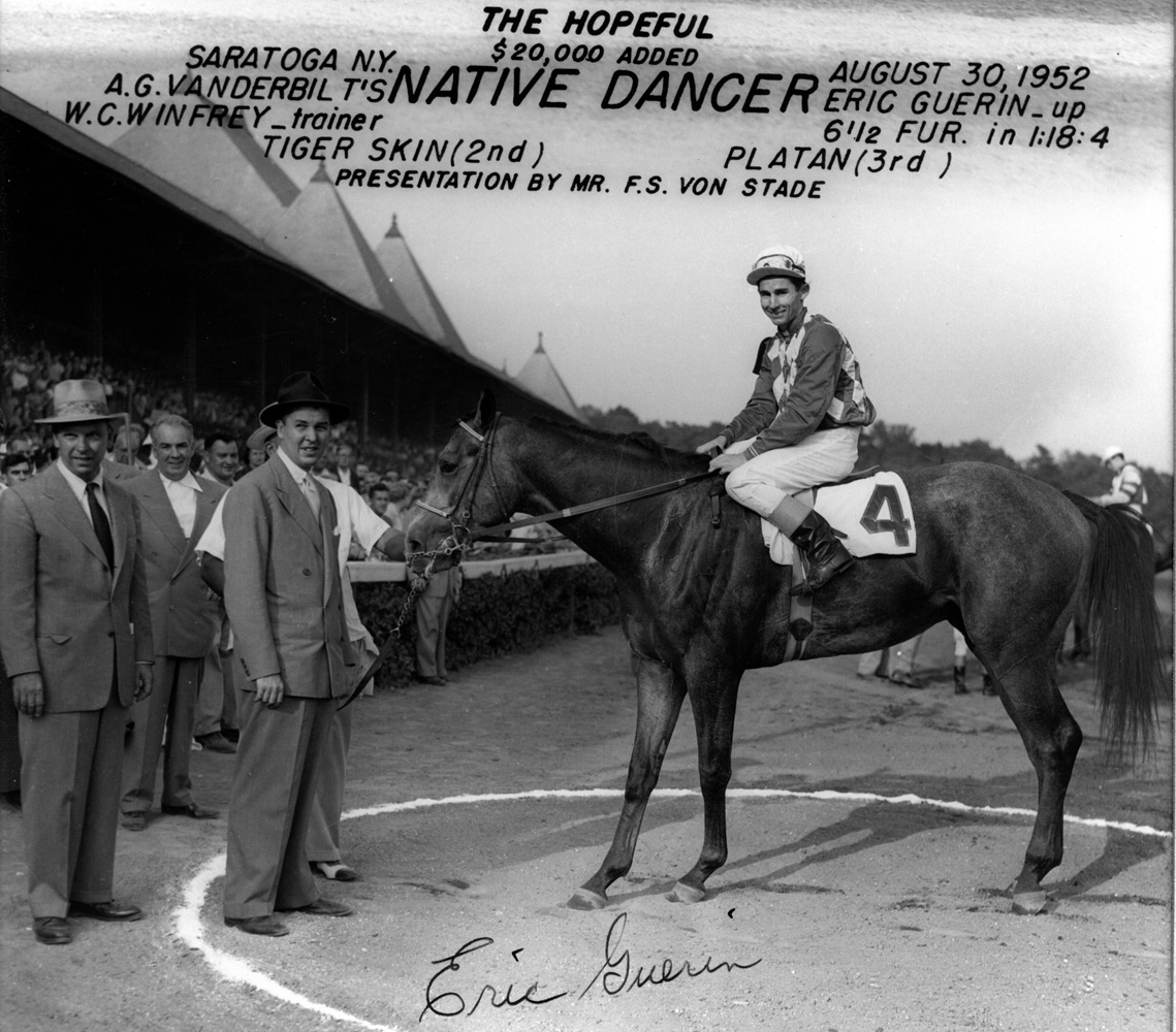 Winner's circle photo for the 1952 Hopeful, won by Native Dancer with Eric Guerin up (Bert Morgan/Museum Collection)