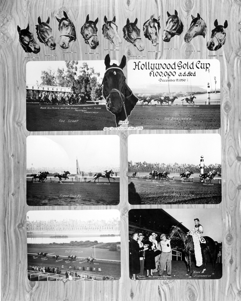Photo collage of the 1950 Hollywood Gold Cup, won by Noor with Johnny Longden up (Museum Collection)