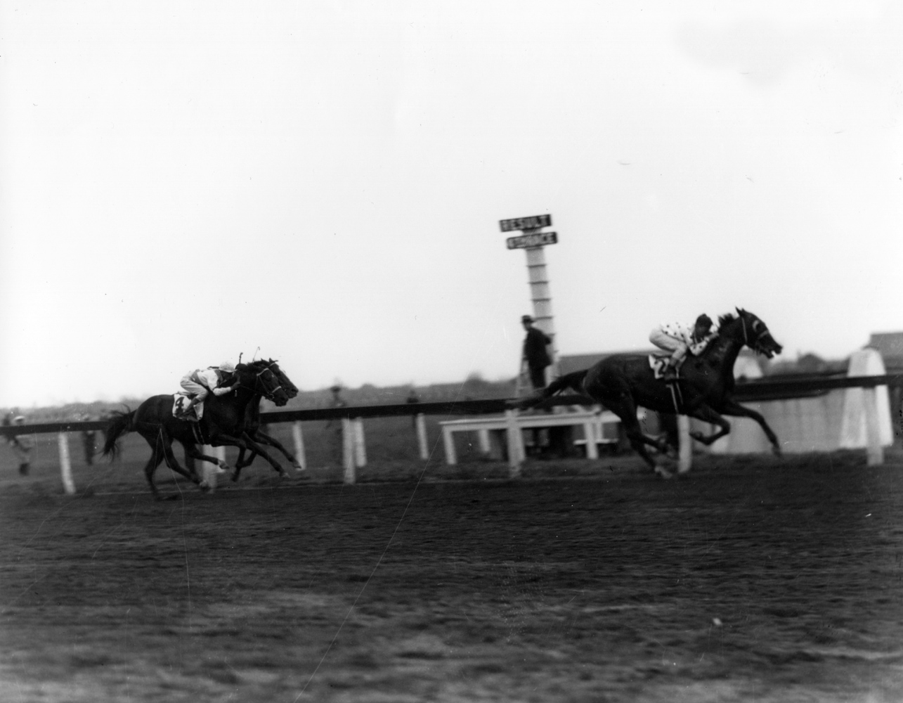 Omaha (Willie Saunders up) winning an allowance race at Jamaica Racetrack, his first start at 3 (Keeneland Library Cook Collection/Museum Collection)