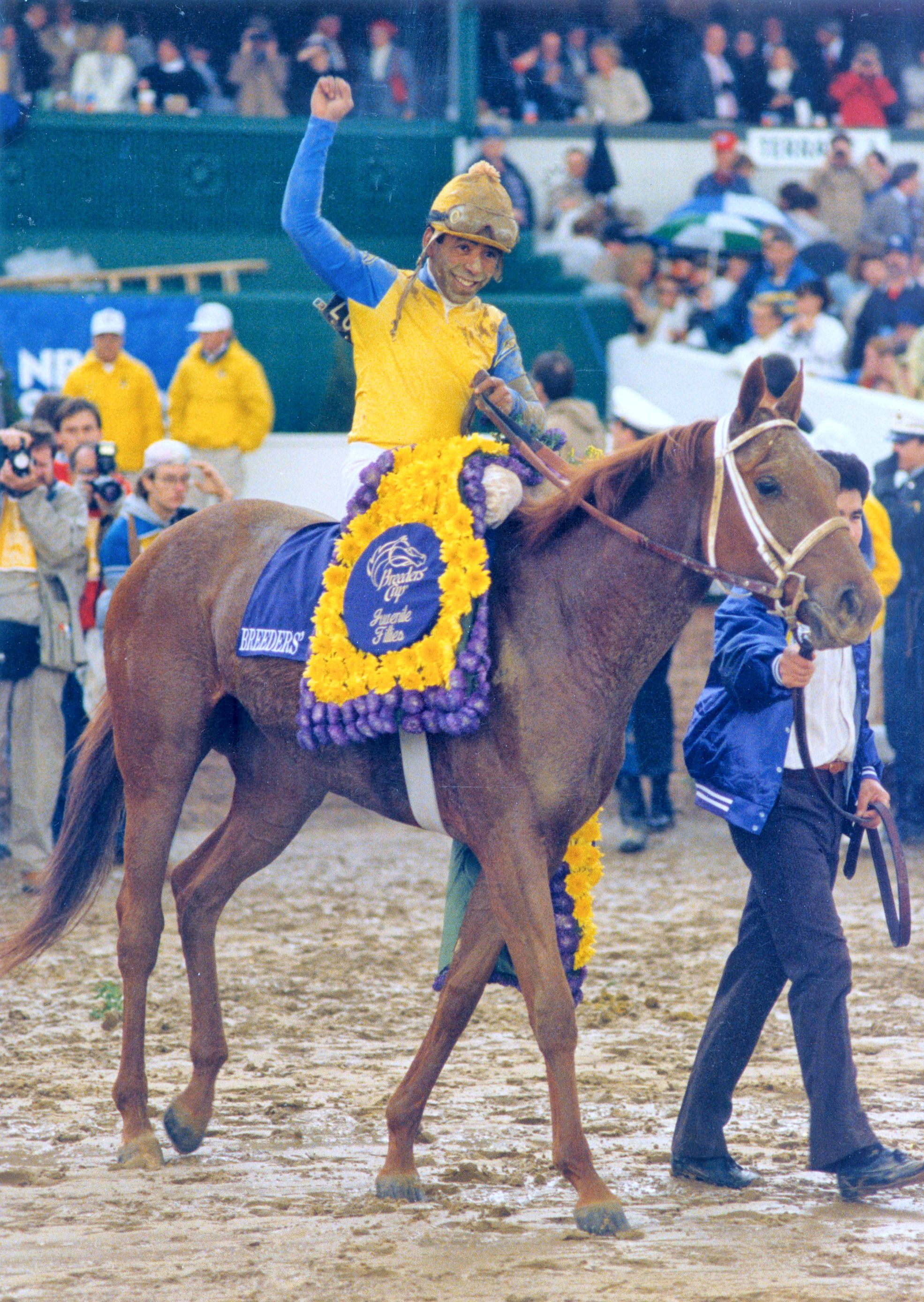 Open Mind (Angel Cordero up) after winning the 1988 Breeders' Cup Juvenile Fillies at Churchill Downs (The BloodHorse)