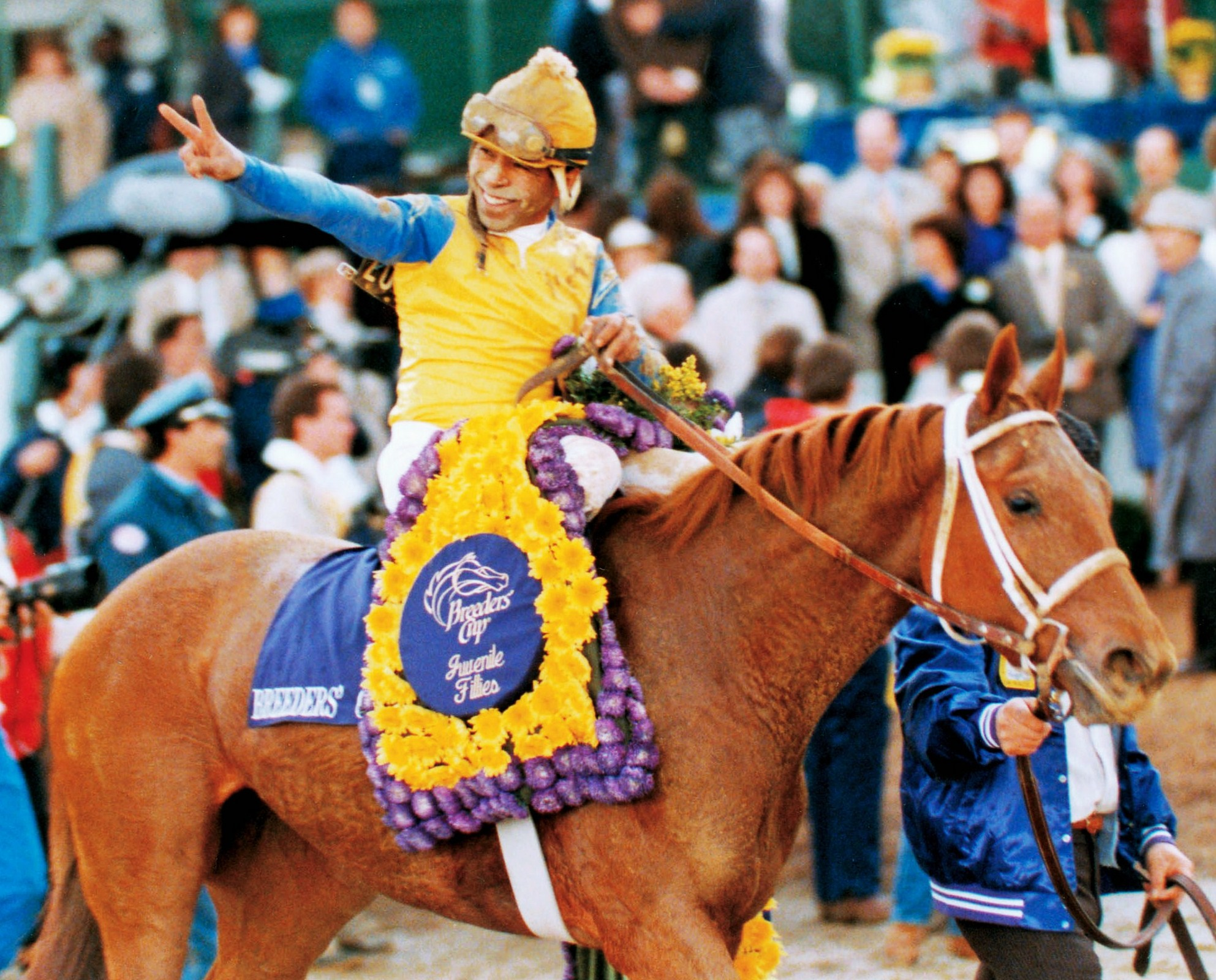 Open Mind (Angel Cordero up) exiting the winner's circle for the 1988 Breeders' Cup Juvenile Fillies (The BloodHorse)