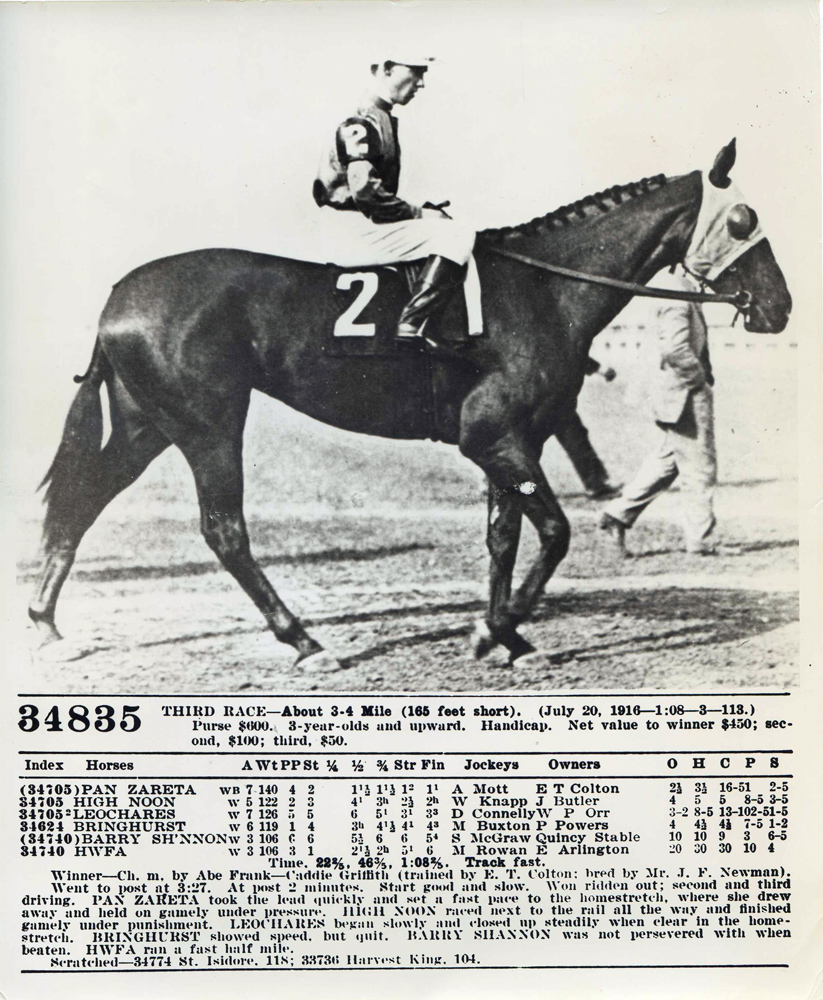 Photo of Pan Zareta (A. Mott up) after winning a handicap at Empire City and the official race chart from that event (The BloodHorse/Museum Collection)