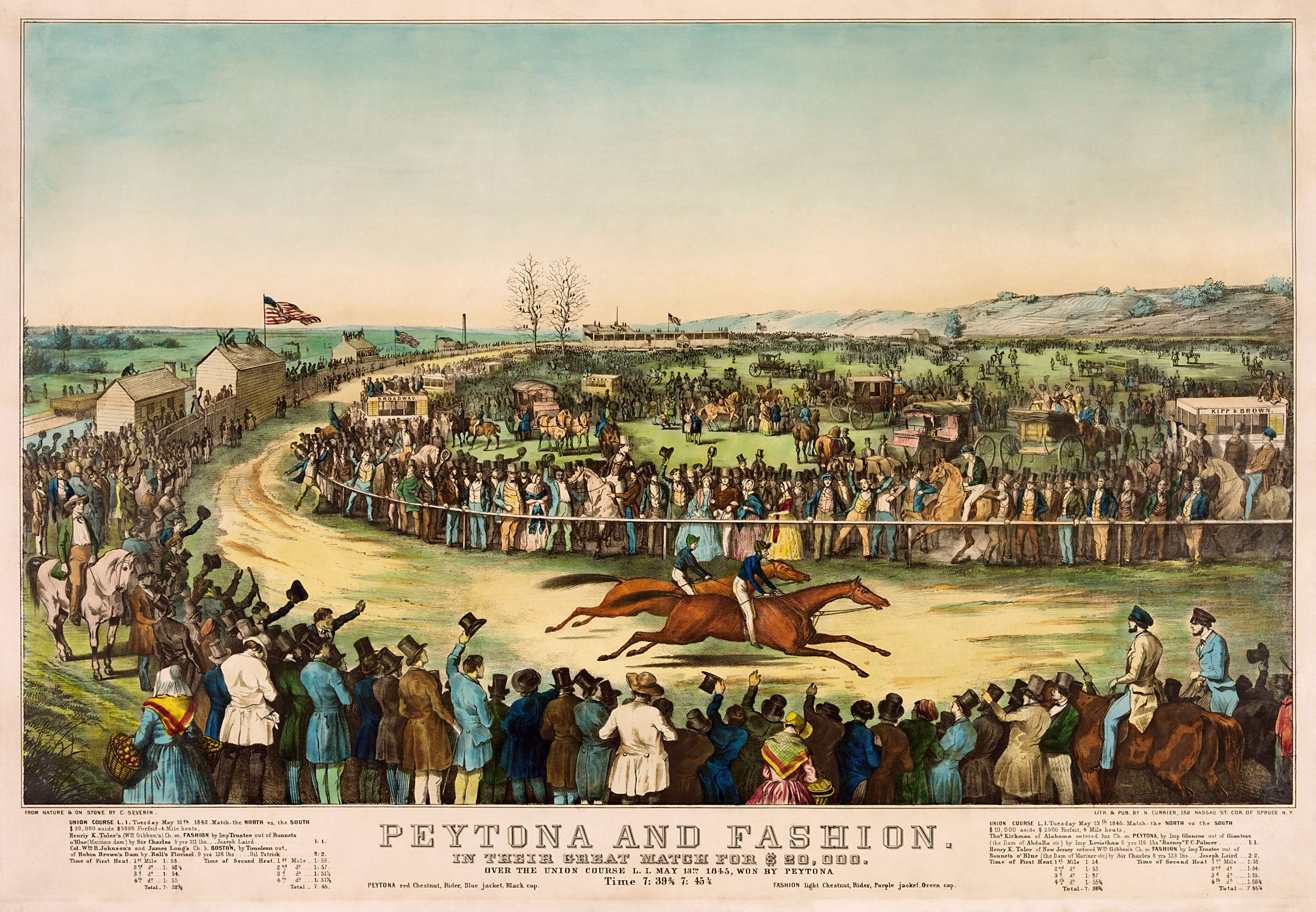 Currier & Ives print depicting the 1845 Great Match between Peytona and Fashion at the Union Course in Long Island, won by Peytona, by artist C. Severin (Museum Collection)
