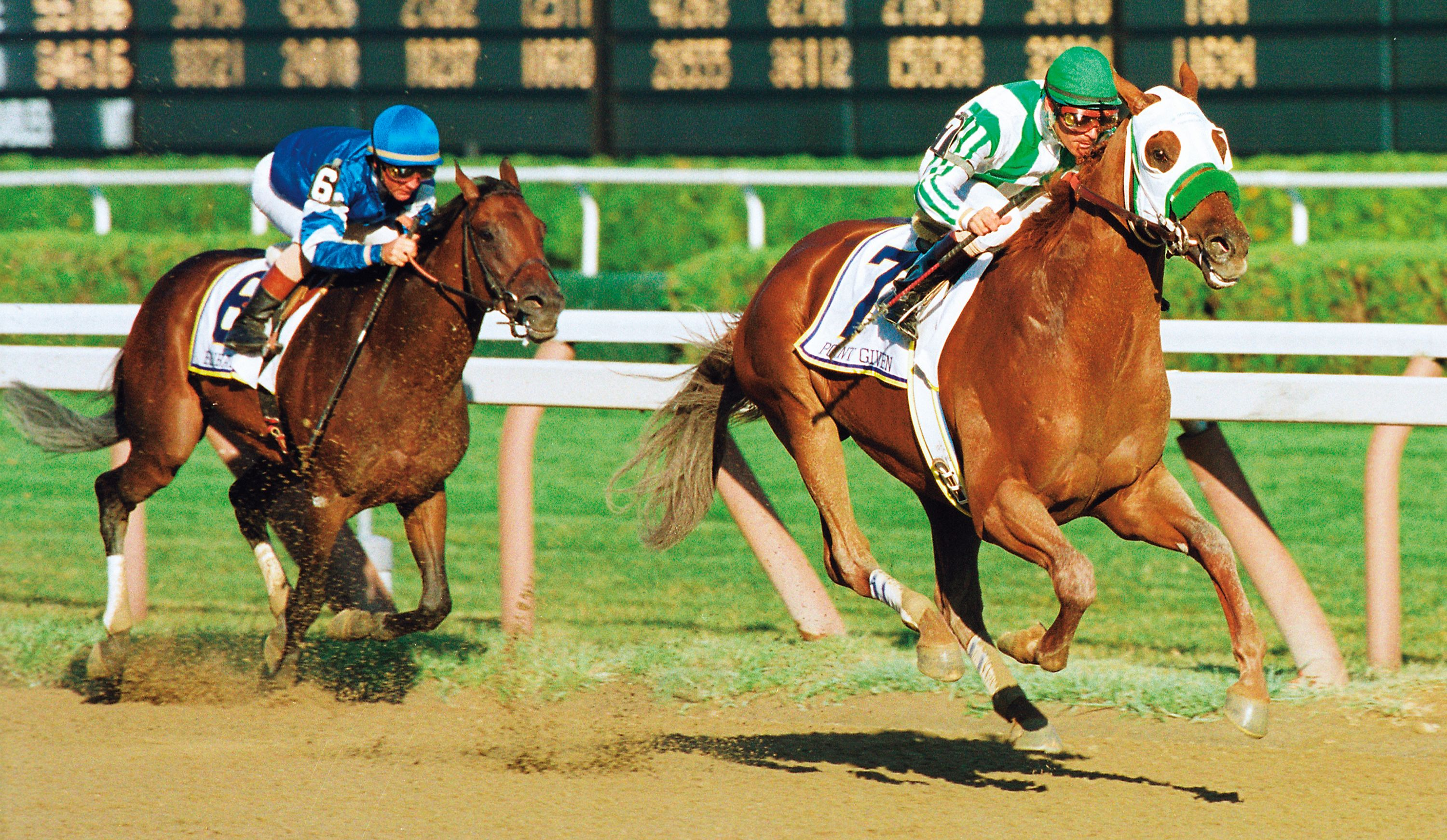 Point Given, Gary Stevens up, winning the 2001 Travers Stakes (Skip Dickstein)