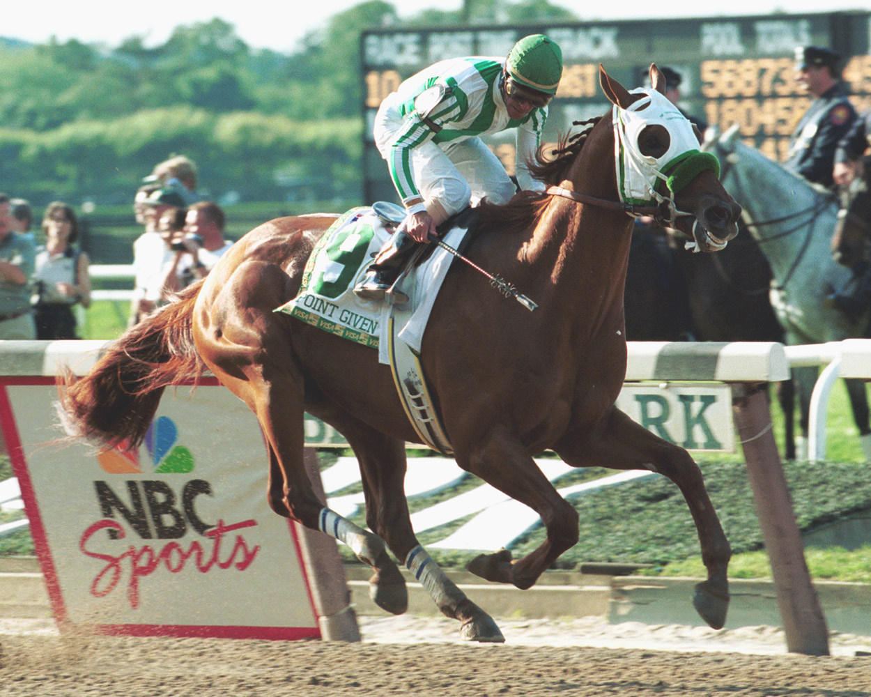 Point Given (Gary Stevens up) winning the 2001 Belmont Stakes (NYRA)