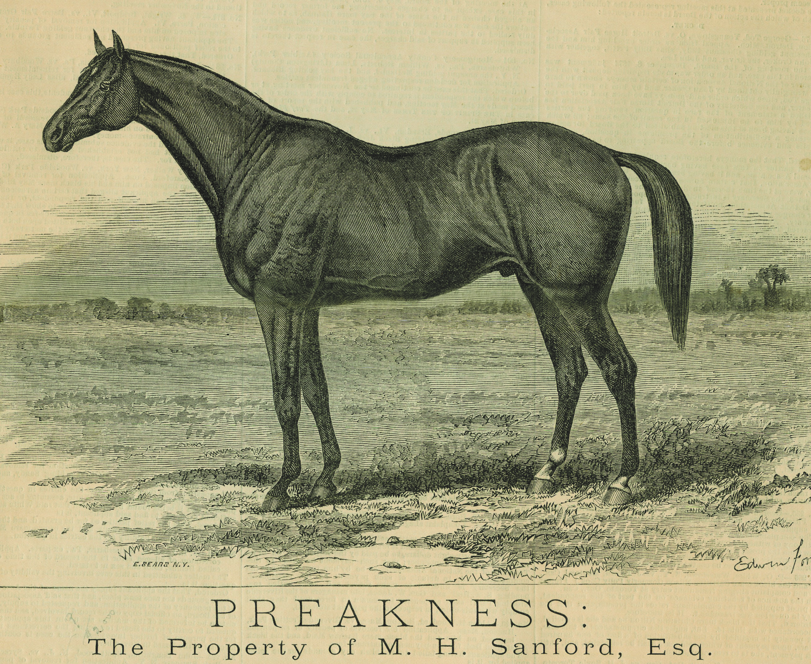 """A likeness of Preakness from the """"Spirit of the Times,"""" July 31, 1875 (Keeneland Library Collection)"""