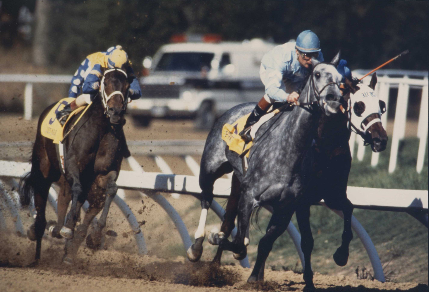 Princess Rooney (Eddie Delahoussaye up) on her way to win the 1984 Breeders' Cup Distaff, her final career race (Breeders' Cup Photo/Museum Collection)