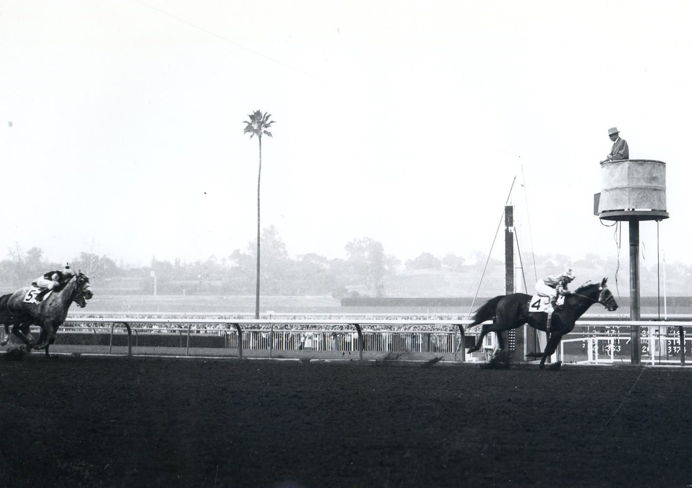 Round Table (Bill Shoemaker up) winning the 1958 San Fernando Stakes at Santa Anita Park (Bill Mochon/Museum Collection)