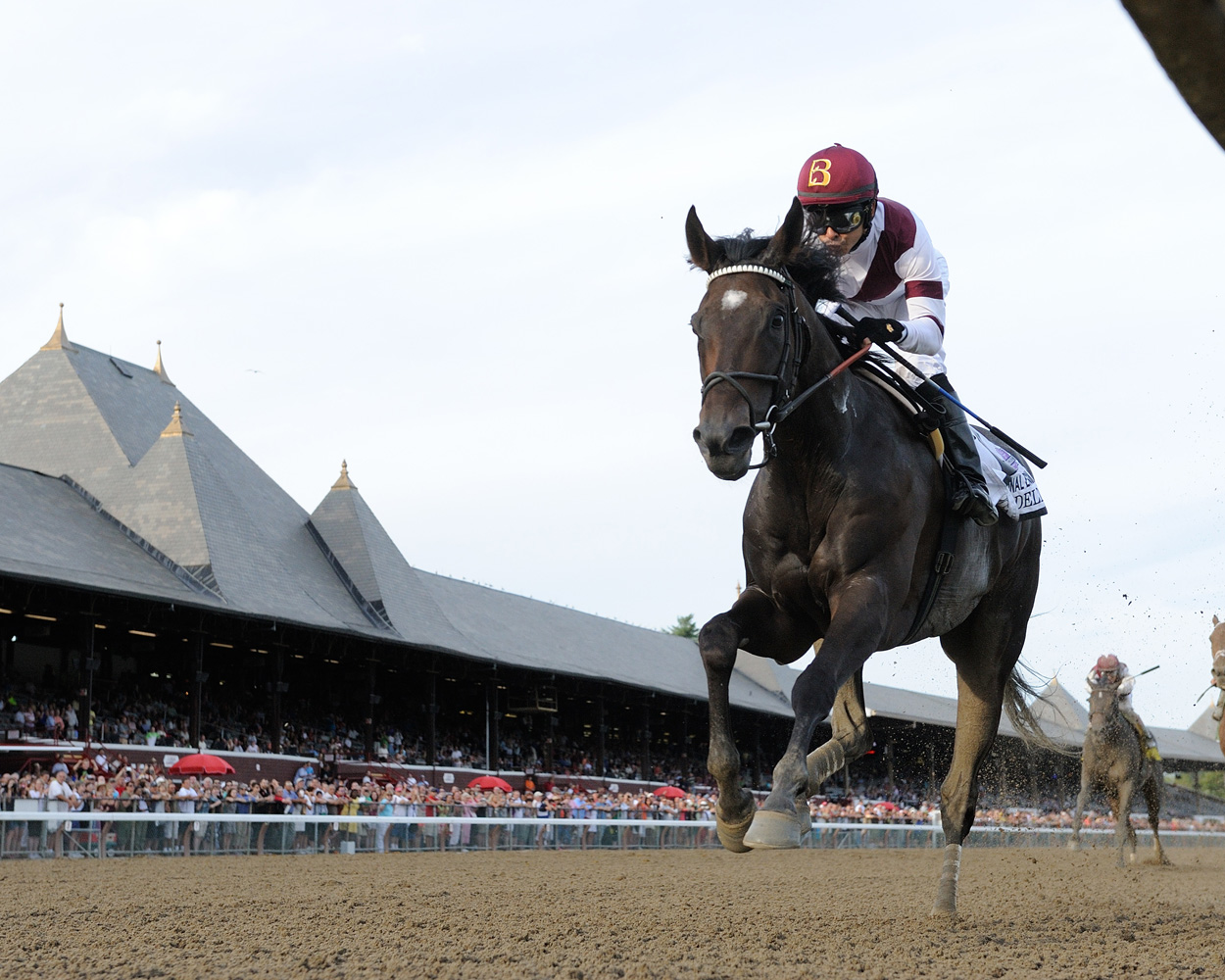 Royal Delta (Mike Smith up) winning the 2013 Personal Ensign Handicap at Saratoga, her final career win (NYRA)