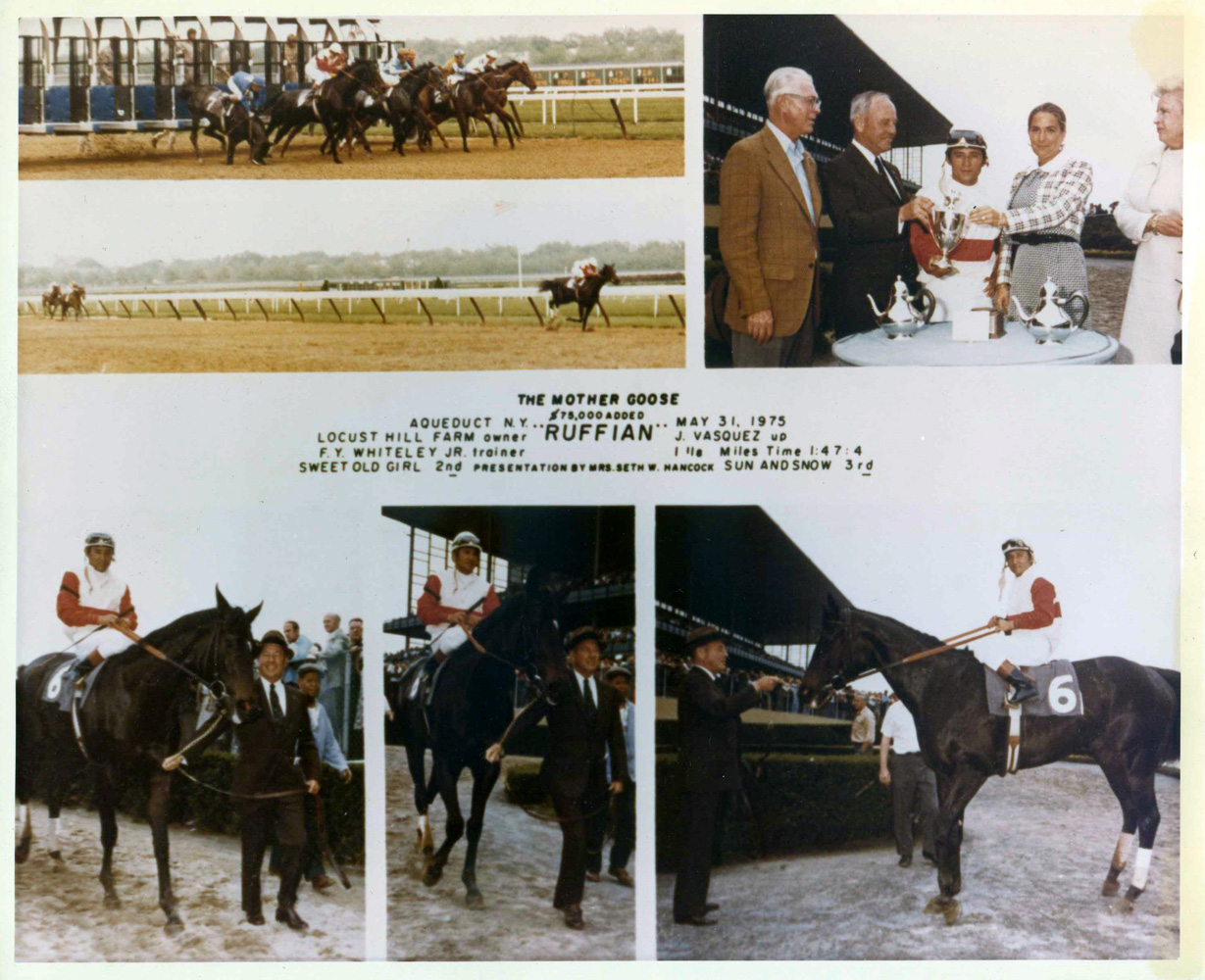 Win composite photograph for the 1975 Mother Goose at Aqueduct, won by Ruffian with Jacinto Vasquez up (NYRA/Museum Collection)