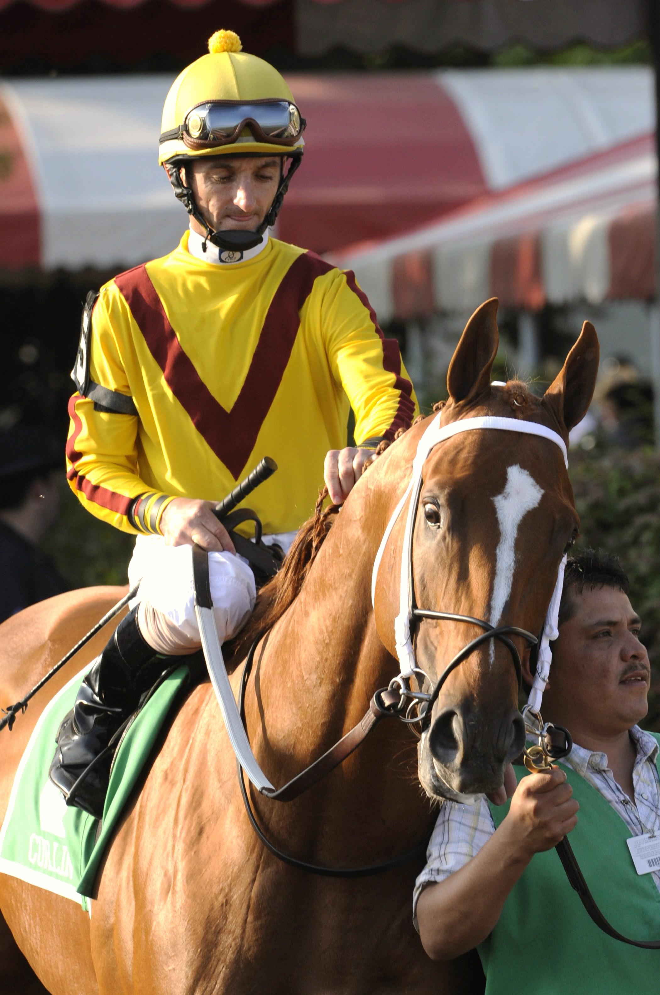 Curlin, Robby Albarado up, at Saratoga Race Course, 2008 (Skip Dickstein)