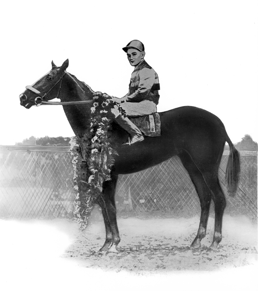 Illustration of Sir Barton in the winner's circle (Courtesy of Ken Grayson)