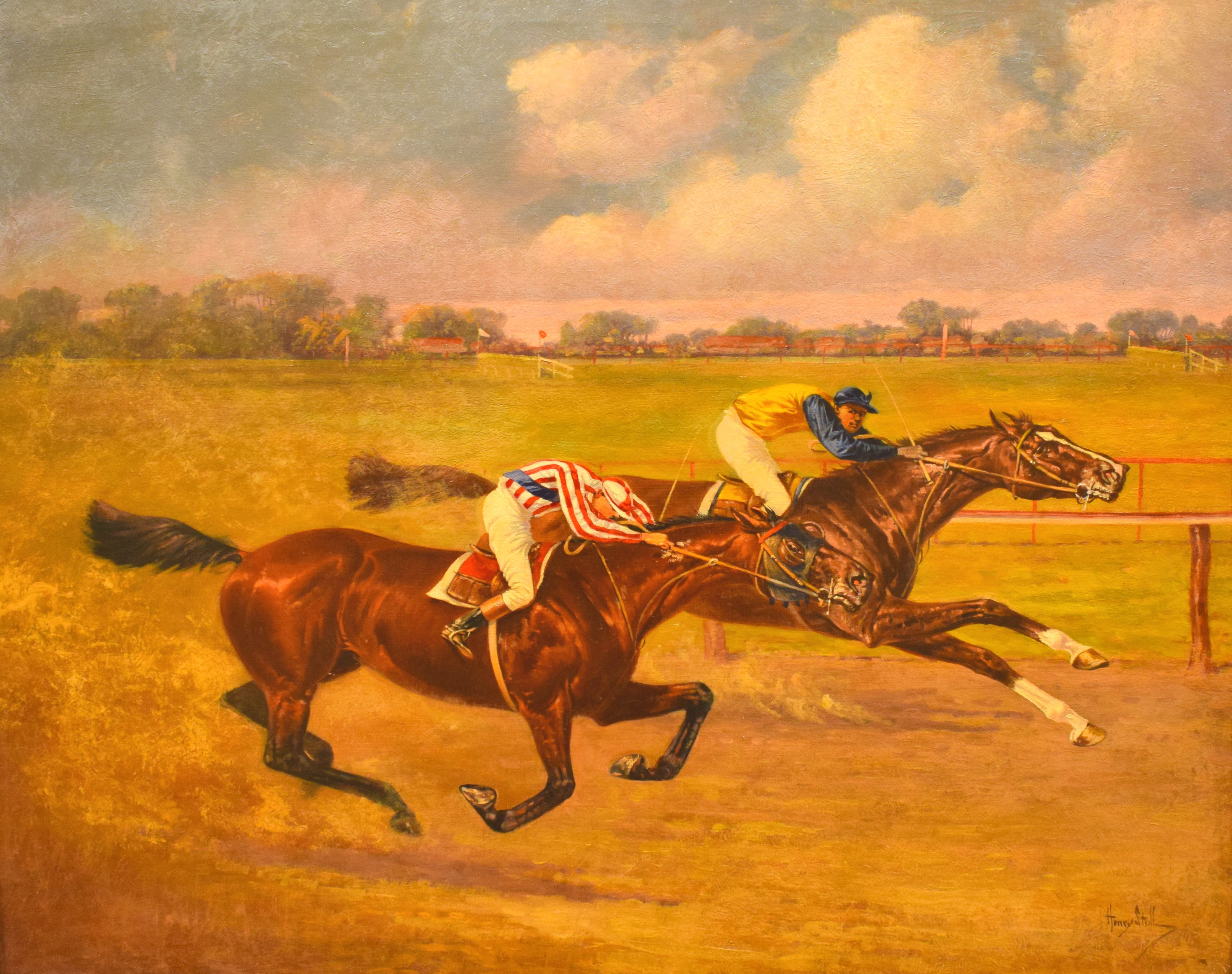 "Salvator, on inside, vs. Tenny in ""The Great $10,000 Match Race"" painting by Henry Stull, 1890 (Museum Collection)"