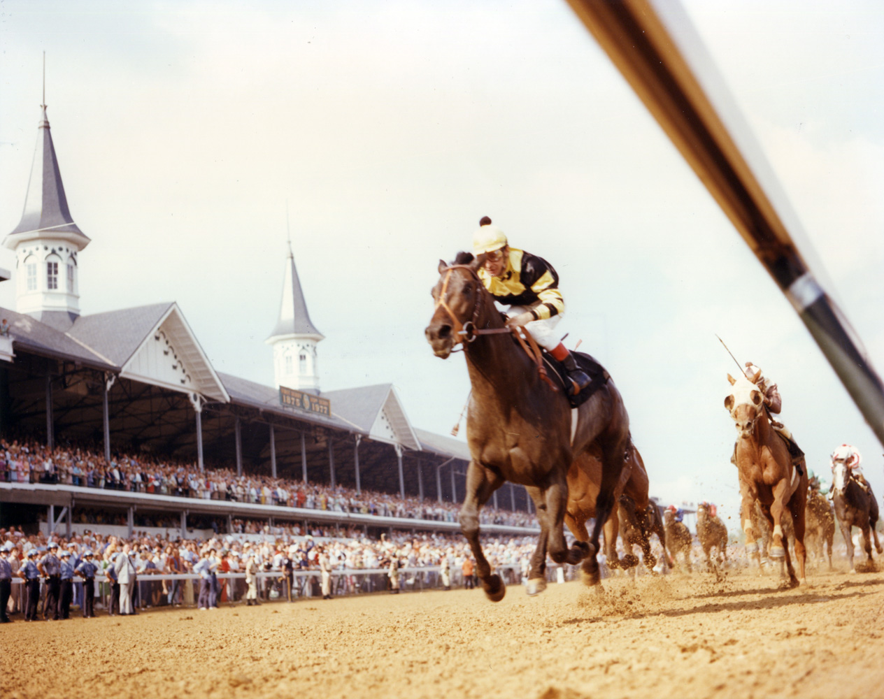 Seattle Slew (Jean Cruguet up) winning the 1977 Kentucky Derby (Churchill Downs Inc./Kinetic Corp. /Museum Collection)
