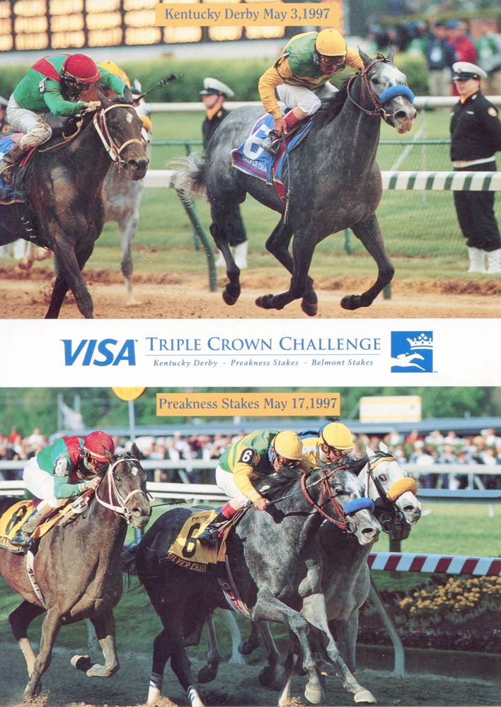 Postcard featuring Silver Charm's Kentucky Derby and Preakness victories (Skip Dickstein/Museum Collection)