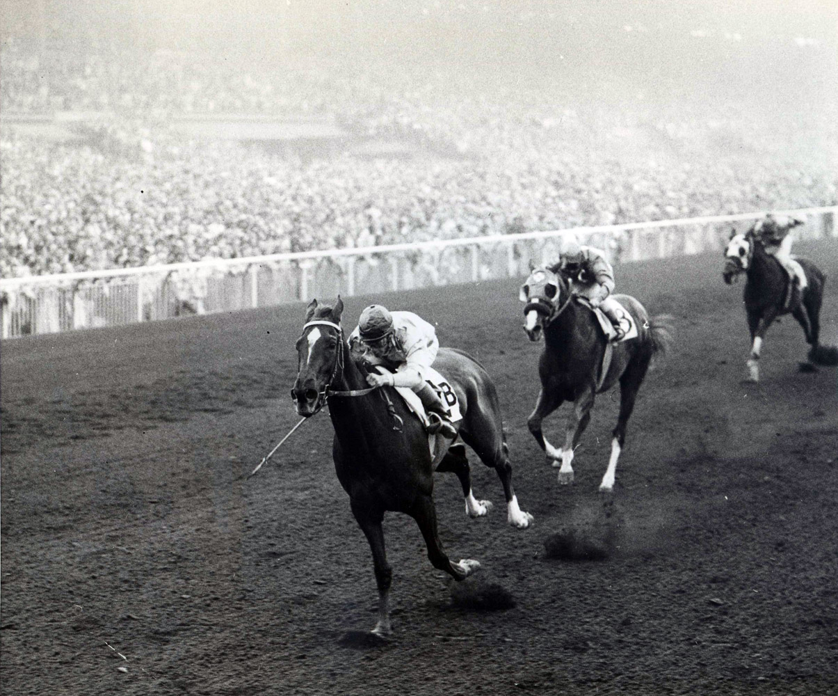 Silver Spoon (Ray York up) winning the 1959 Santa Anita Derby (UPI Telephoto/Museum Collection)