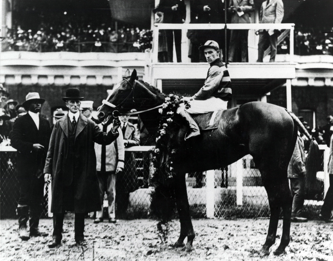 Sir Barton (John Loftus up) in the winner's circle for the 1919 Kentucky Derby (Churchill Downs Inc./Kinetic Corp. /Museum Collection)
