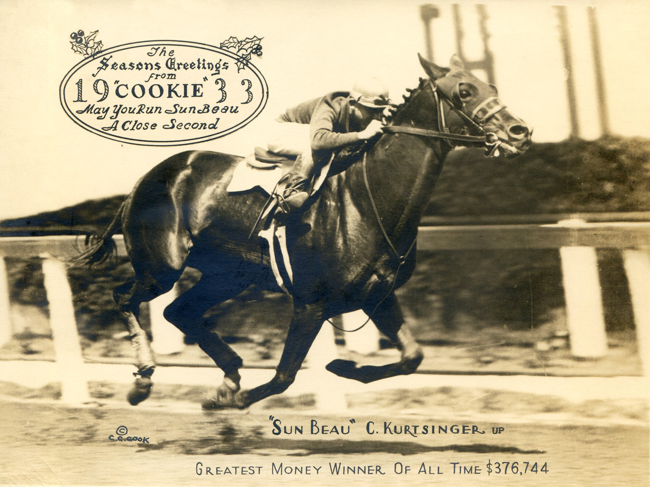 "Sun Beau (Charles Kurtsinger up) featured in the 1933 ""Christmas Cookie"" greeting card produced by photographer C. C. Cook (C. C. Cook/Museum Collection)"