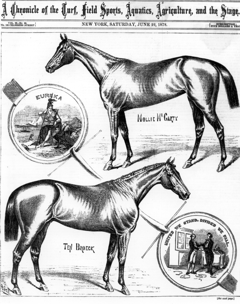 "Illustration of Ten Broeck (and Mollie McCarty) from ""The Spirit of the Times,"" June 1878 (Keeneland Library Collection/Museum Collection)"