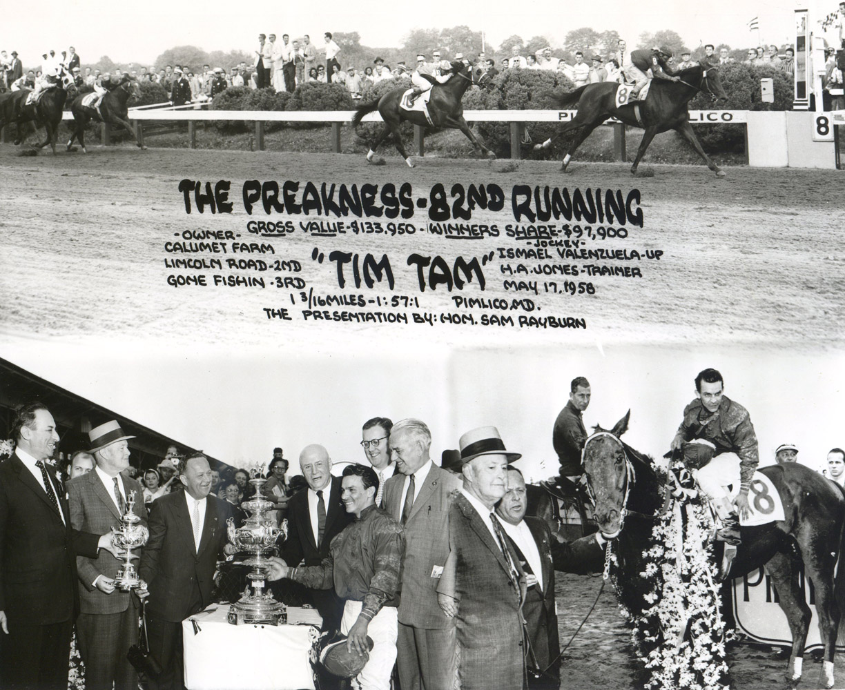 Win composite photograph for the 1958 Preakness, won by Tim Tam with Ismael Valenzuela up (Pimlico Photo/Museum Collection)