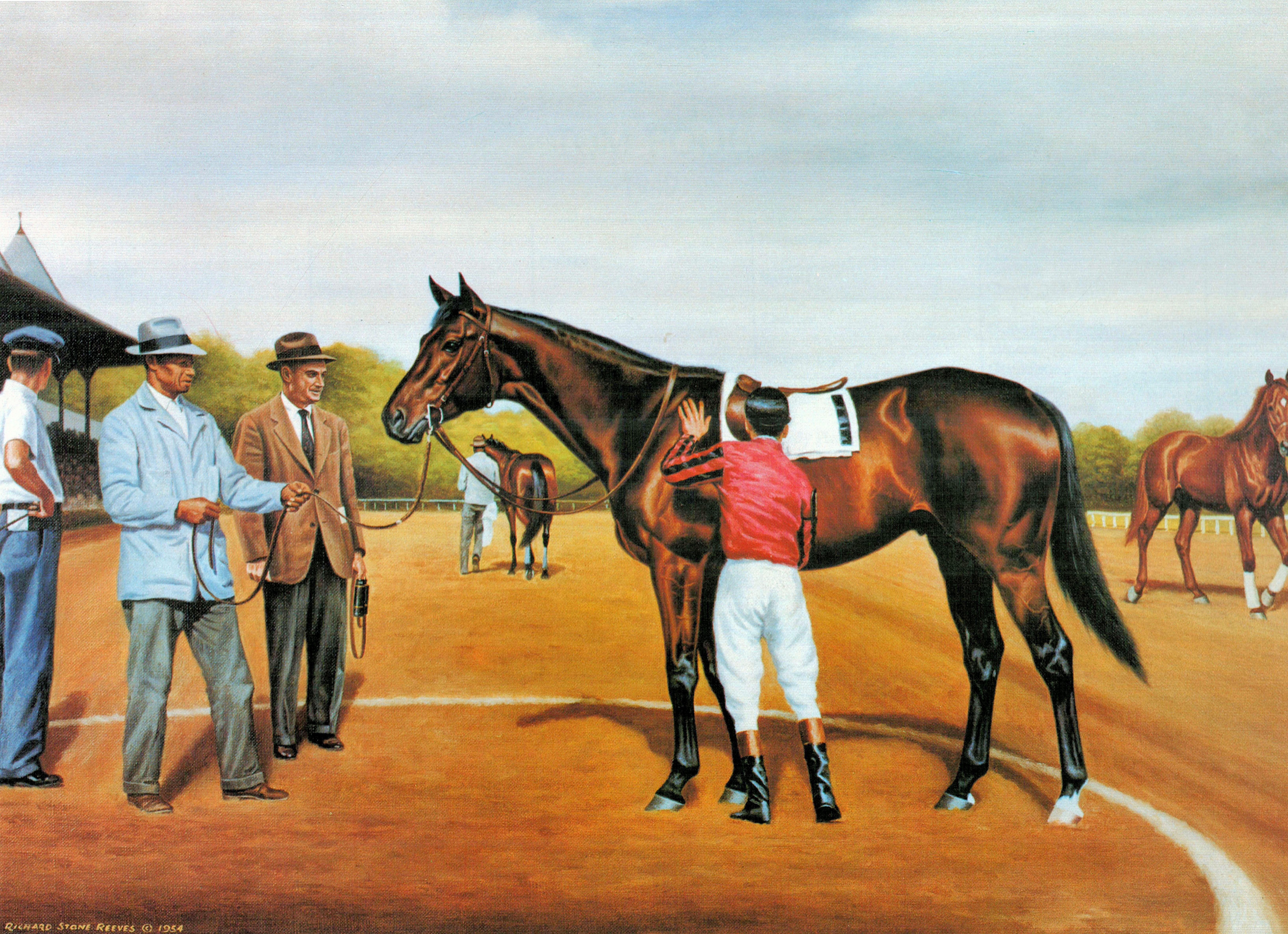 Painting of Tom Fool in the winner's circle at Saratoga Race Course with trainer John M. Gaver, Sr. by Richard Stone Reeves, 1954 (Museum Collection)