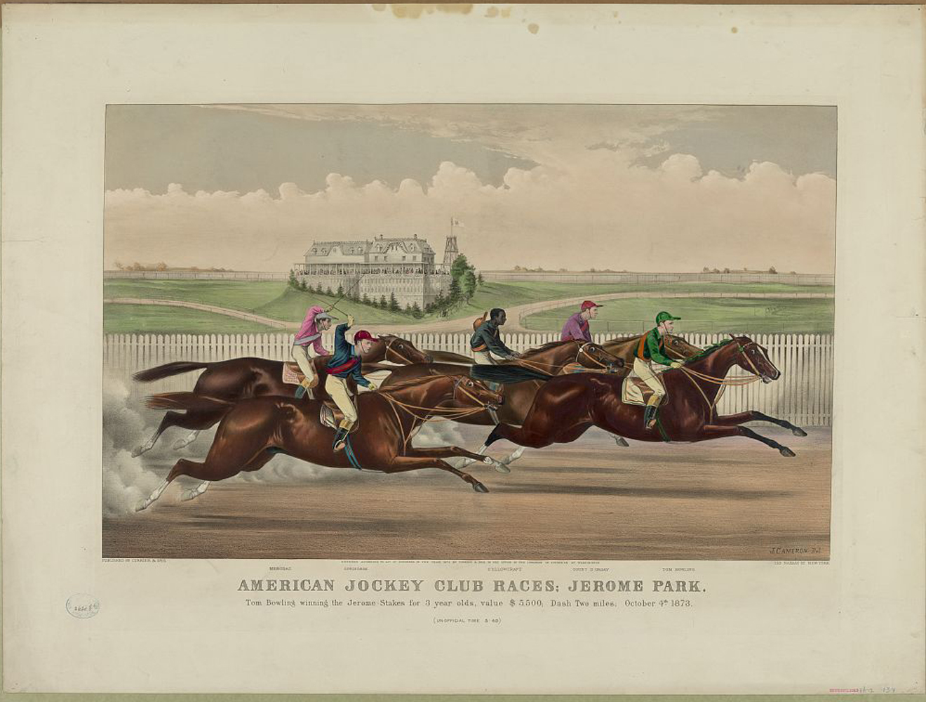 A print depicting Tom Bowling winning the Jerome Stakes at Jerome Park in October 1873 (Keeneland Library Collection)
