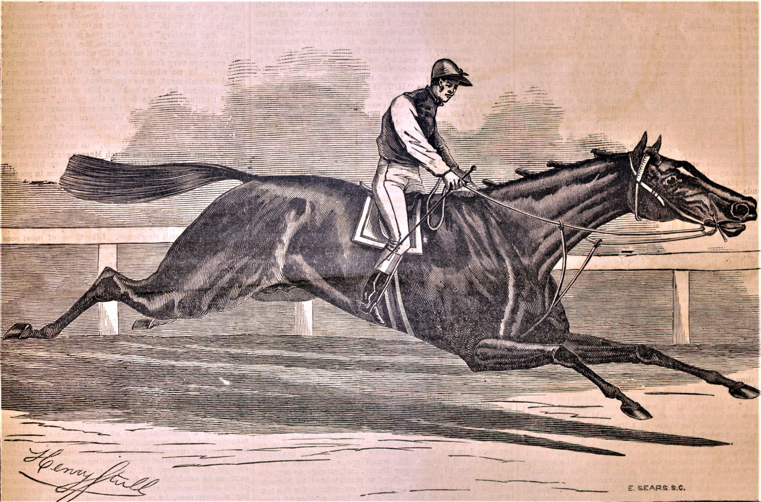 """An illustration of Tom Ochiltree by Henry Stull from """"The Spirit of the Times,"""" July, 15, 1876 (Keeneland Library Collection)"""