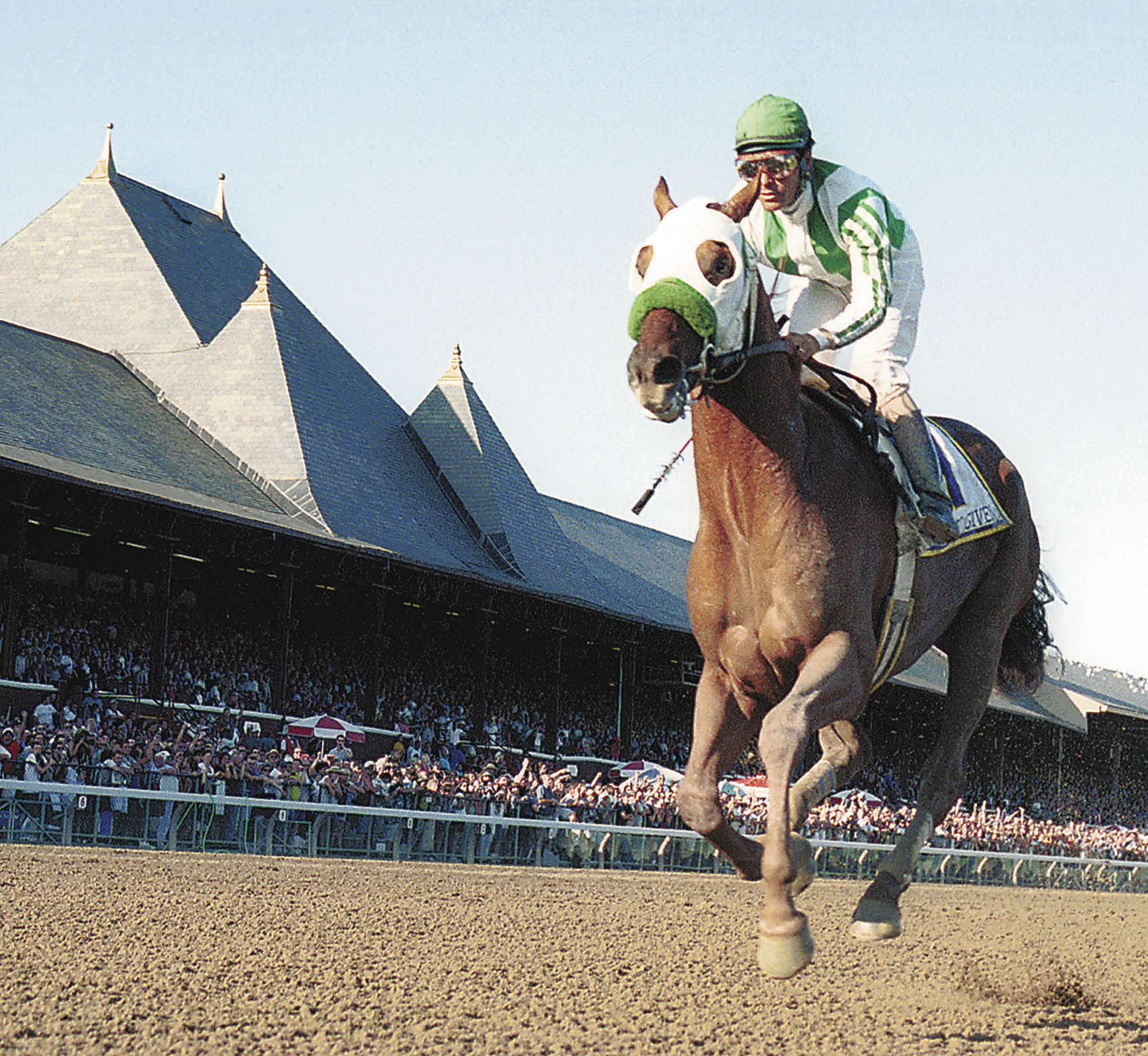 Point Given (Gary Stevens up) charging down the stretch to win the 2001 Travers, his final career race (Tom Killips)