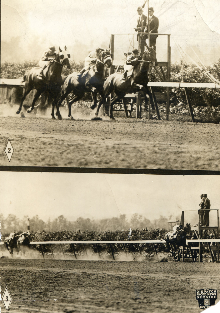 Photos of the start and finish of the 1931 Belmont Stakes, won by Twenty Grand with Charles Kurtsinger up (Museum Collection)
