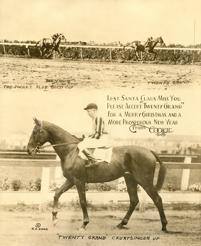 """The 1931 Jockey Club Gold Cup, won by Twenty Grand (Charles Kurtsinger up) featured on the annual """"Christmas Cookie"""" greeting card produced by photographer C. C. Cook (C. C. Cook/Museum Collection)"""
