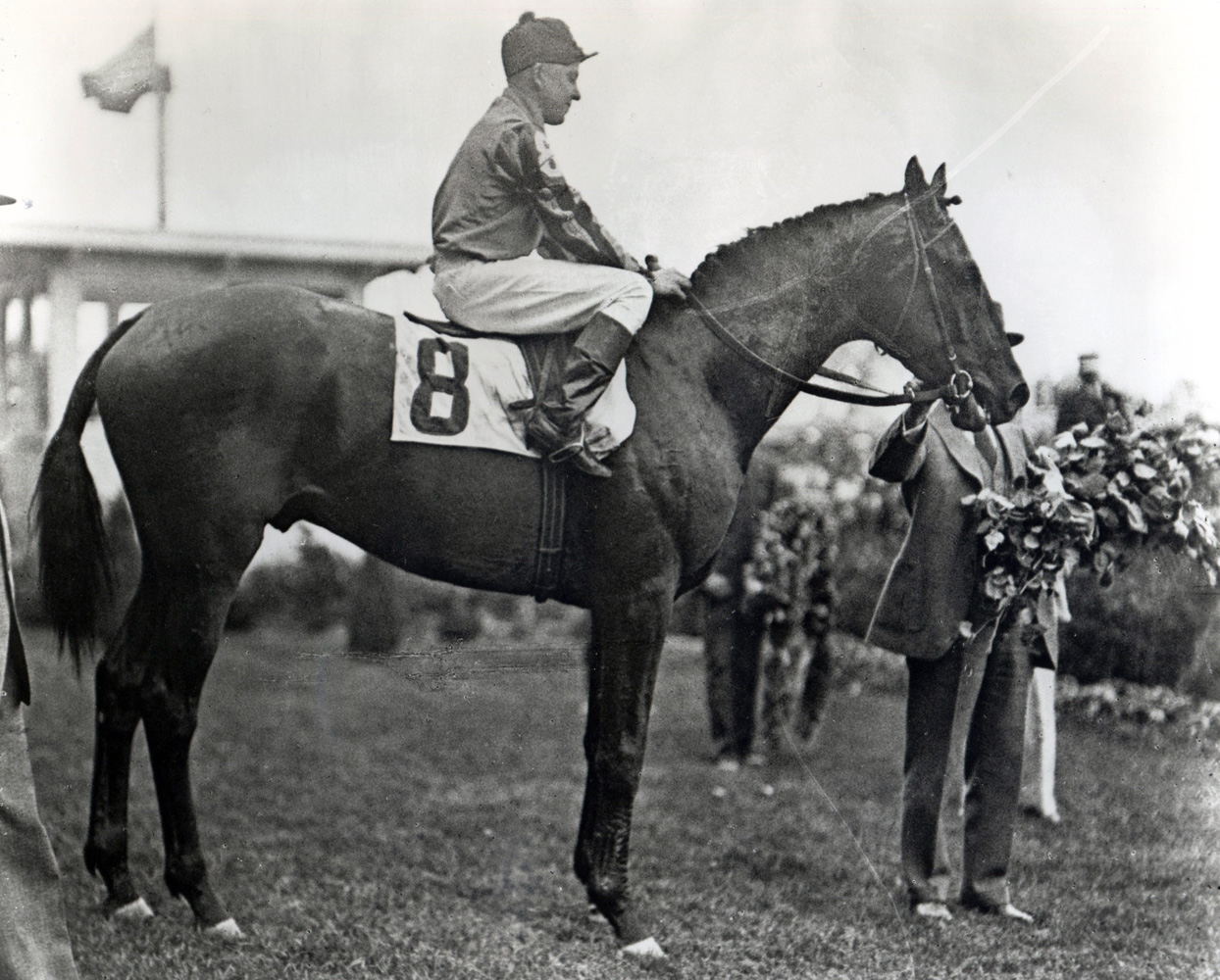 Twenty Grand (Charles Kurtsinger up) in the winner's circle for the 1931 Kentucky Derby (Churchill Downs Inc./Kinetic Corp. /Museum Collection)
