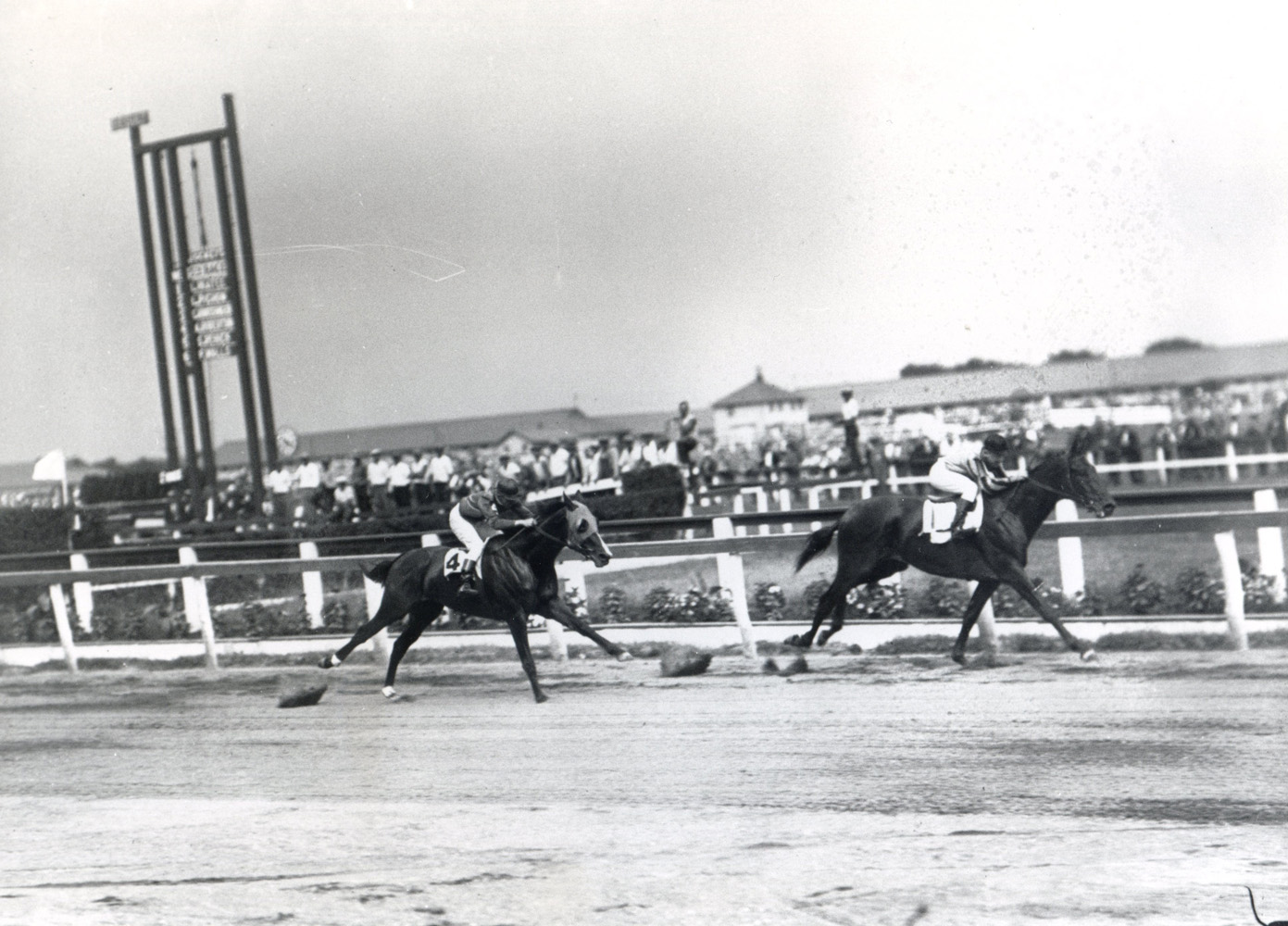 Twenty Grand (Charles Kurtsinger up) winning the 1931 Dwyer at Aqueduct (Keeneland Library Cook Collection/Museum Collection)