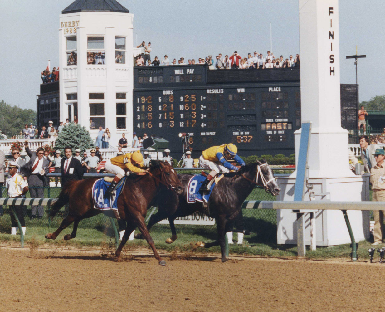 Winning Colors (Gary Stevens up) winning the 1988 Kentucky Derby by a neck over Forty Niner (Churchill Downs Inc./Kinetic Corp. /Museum Collection)