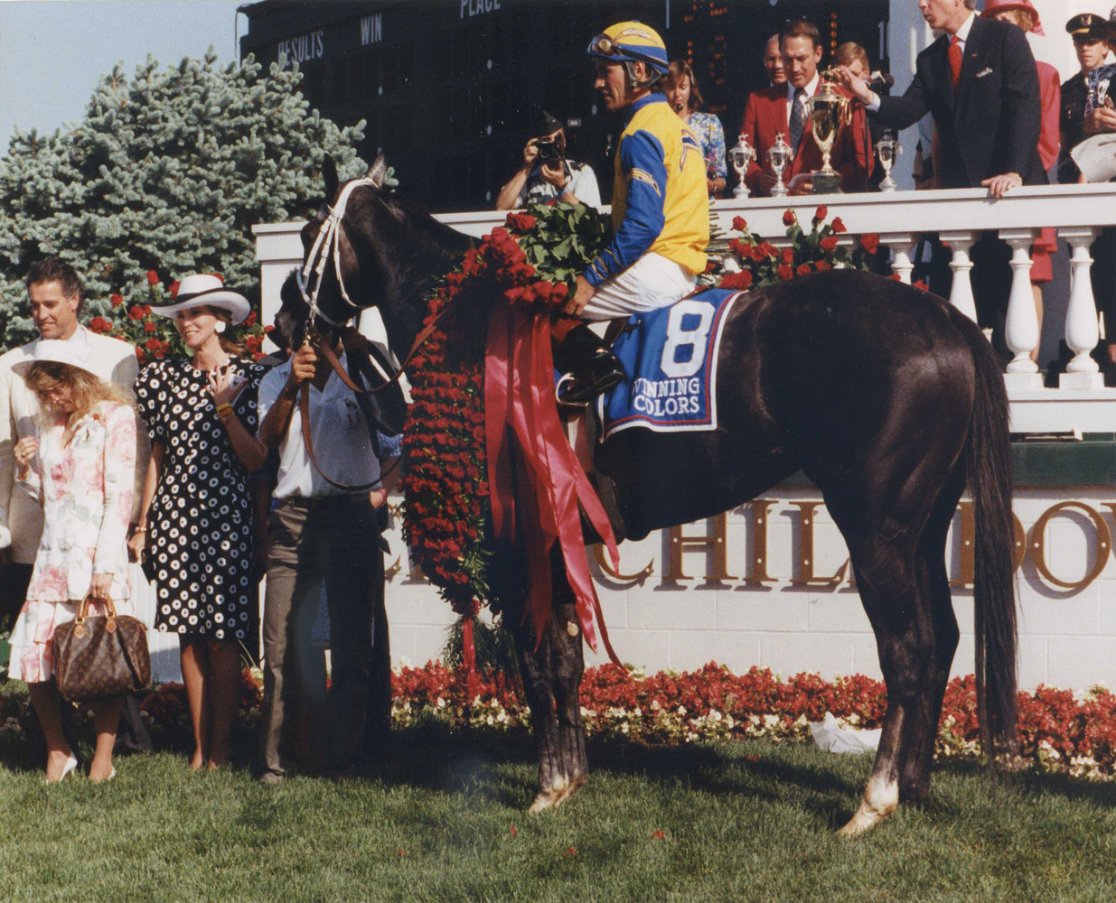 Winning Colors (Gary Stevens up) in the winner's circle for the 1988 Kentucky Derby (Churchill Downs Inc./Kinetic Corp. /Museum Collection)
