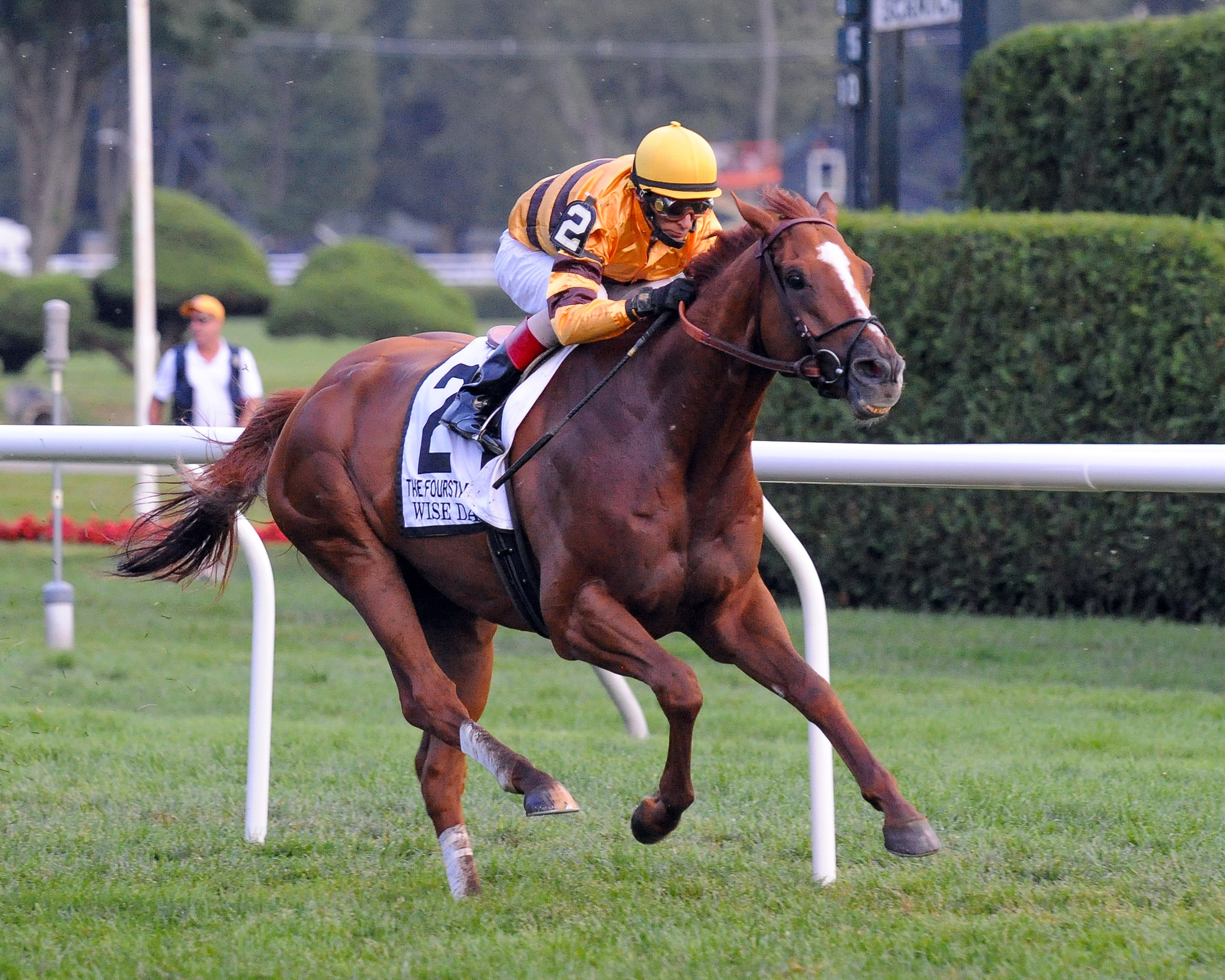 Wise Dan (John Velazquez up) winning the 2012 Fourstardave at Saratoga (Bob Mayberger)