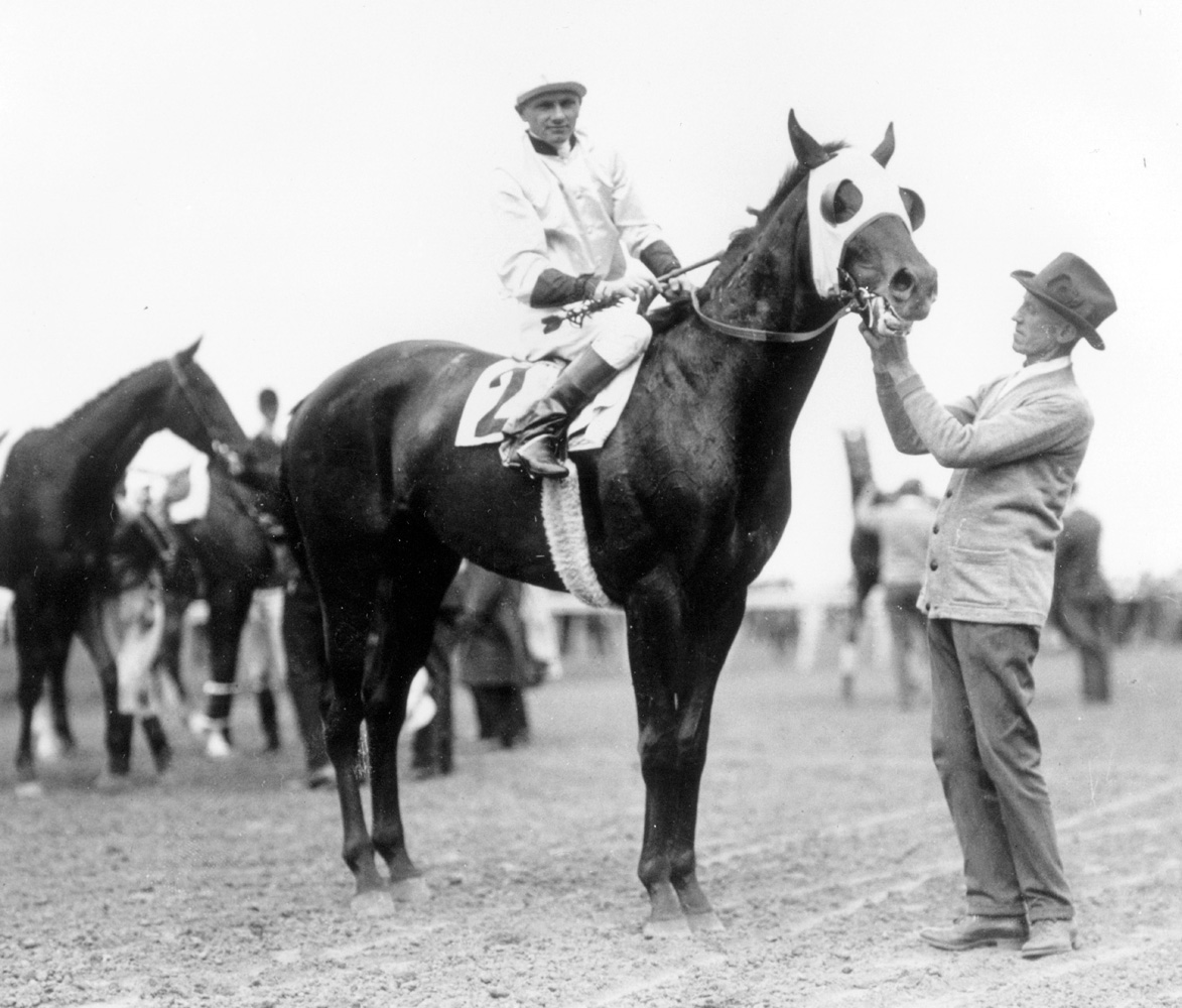Zev (Earl Sande up) after winning the 1923 Belmont Stakes with trainer Sam Hildreth (Keeneland Library Cook Collection/Museum Collection)