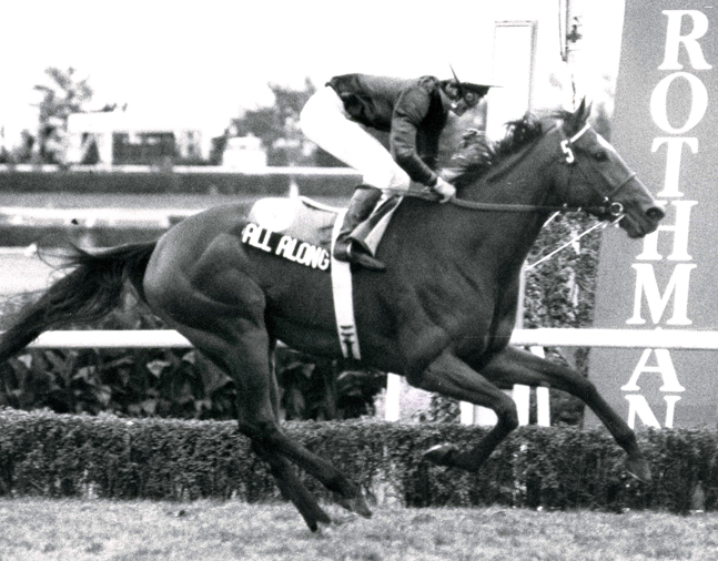 All Along winning the 1984 Rothmans International at Woodbine (Michael Burns/Museum Collection)