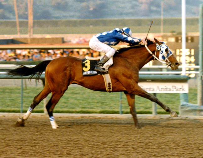 Alysheba (Chris McCarron up) wins the 1988 Charles H. Strub Stakes at Santa Anita (Santa Anita Photo/Museum Collection)