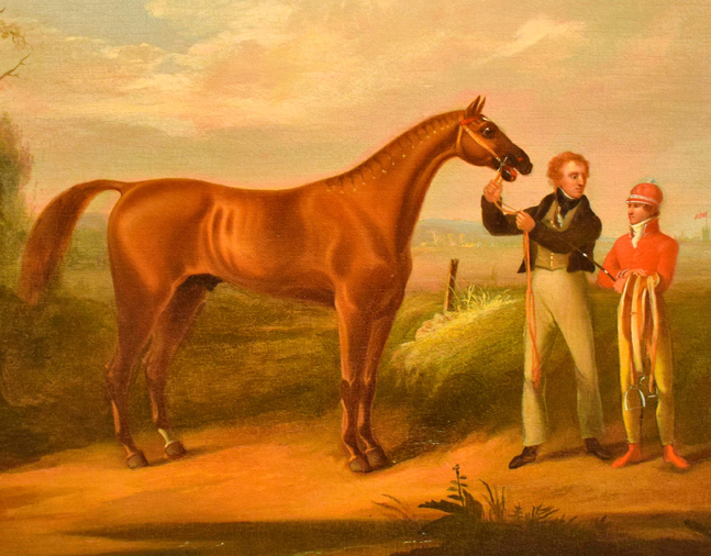 An oil on canvas painting of American Eclipse following his victory over Sir Henry in the great match race by Alvan Fisher, gifted to the Museum by Augustus Van Cortlandt (Museum Collection)