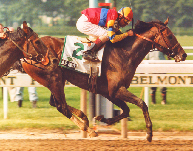 A.P. Indy (Eddie Delahoussaye up) winning the 1992 Belmont Stakes (Bob Coglianese/Museum Collection)